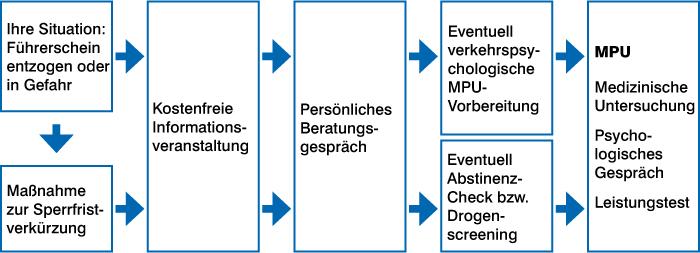 Grafik zeigt den Prozess der MPU-Vorbereitung