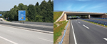 Zwei Bilder von Autobahnen: Links mit Schchutzeinrichtung aus Beton, rechts aus Stahl (refer to: Development of a cost assessment of vehicle restraint systems over the entire service life)