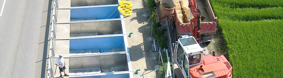 The picture shows an open air lysimeter
