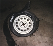 The picture shows a bursted tyre
