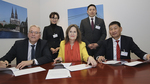 The photo shows Stefan Strick, Ute Hammer and Terbish Byambaa signing the agreement. (refer to: Memorandum of Understanding with Mongolian Road Assocation)